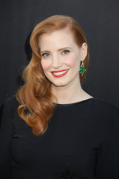 Jessica Chastain Hairstyle with Soft Waves