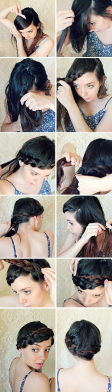 Bohemian 3 Strand Braided Wrap Hairstyle