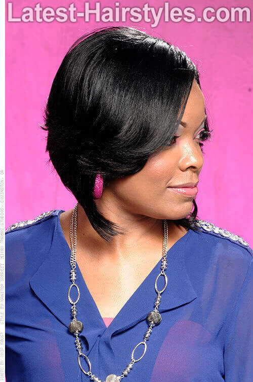 Asymmetrical Bob Soft Wavy Style Side View