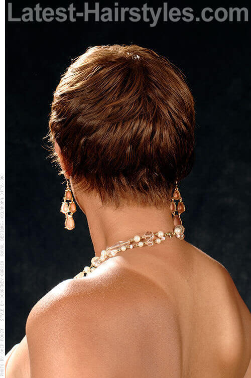 Brown on Brown Glamorous Short Cut Back View