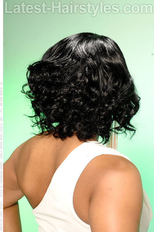 Medium Curls for a Black Woman Side View
