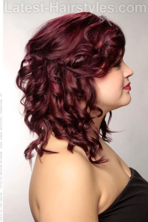 Grape Hair Color with Drama Side View