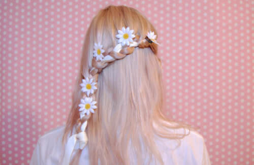 Inverted Cascading Braid With Flower Hair Accessory