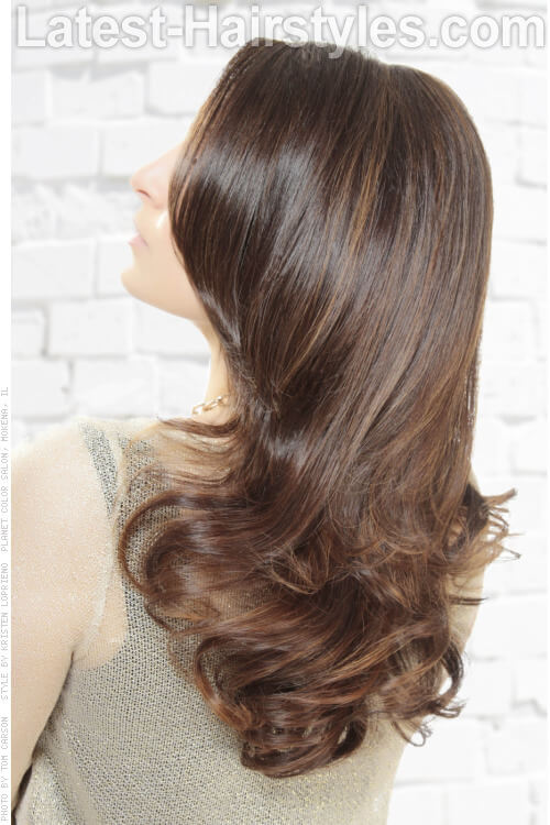 Light Subtle Caramel Highlights on Dark Hair