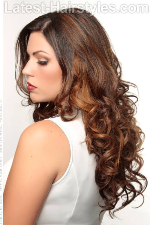 Long Brown Caramel Highlighted Hair with Curls Side View