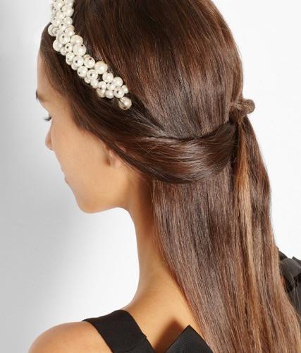 Maison Michel Astrid faux pearl headband