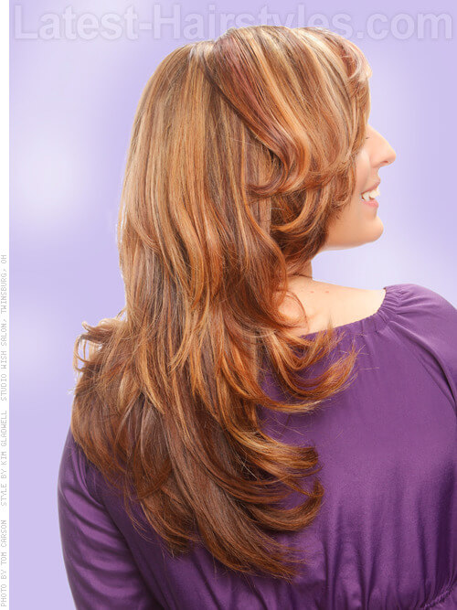 Medium Blonde Hairstyle with Caramel Highlights Back View