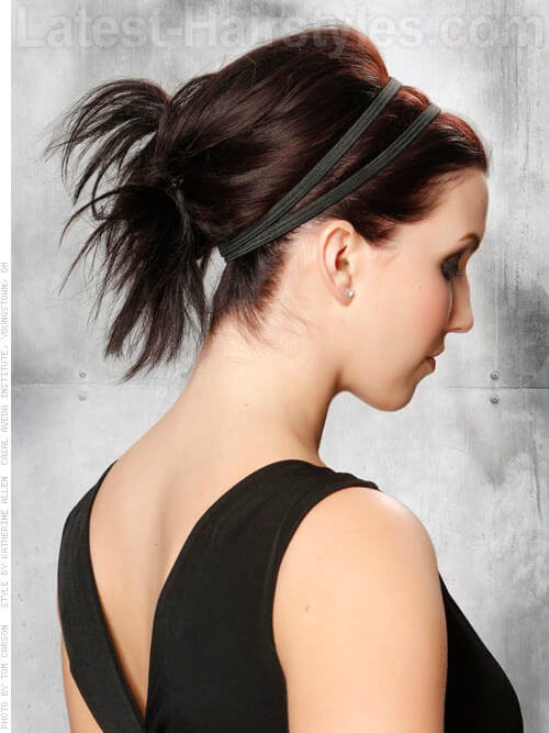 24 completely easy long hair updos for you to try polished up style with headband side view pmusecretfo Image collections