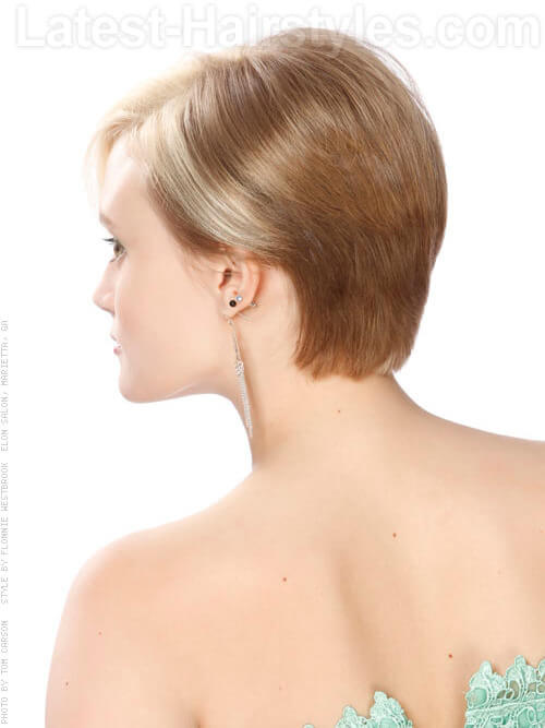 Short Blonde Hair Coloring Idea with Blonde Highlights Back View