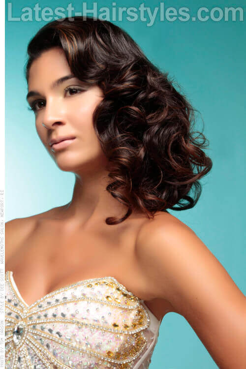 Side Swept Hairstyle with Curls Side View
