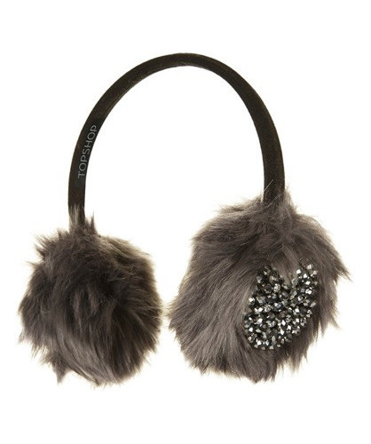 Topshop Embellished Faux Fur Earmuffs