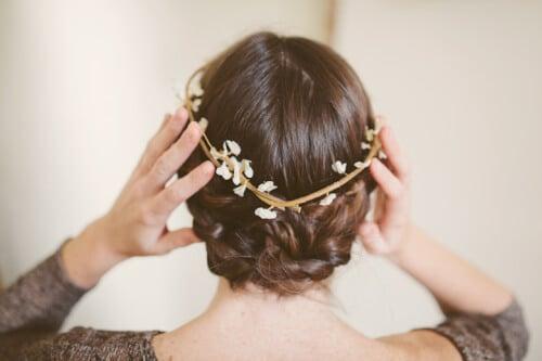 Flower Hair Accessory In Twisted Maiden Bun Braid