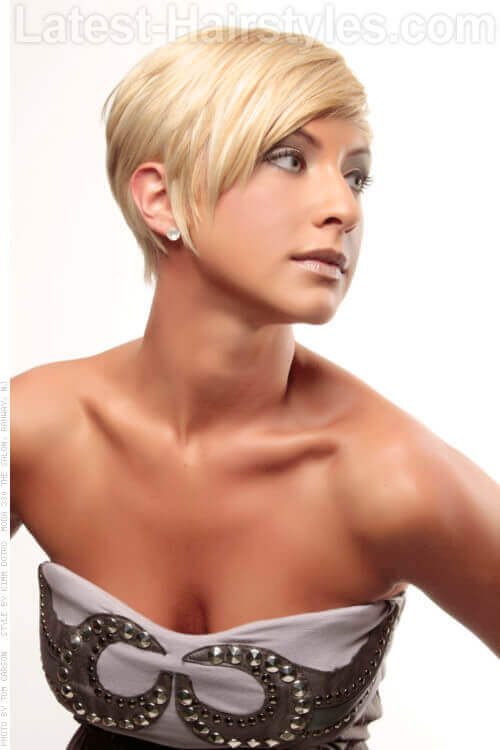 Blonde Pixie Cut with Long Side Bang Side View