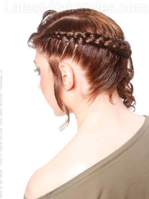Cool Hairstyle with Side Corn Row and Curls Side View