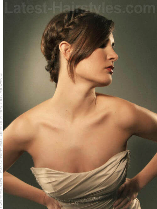 Half Side Cool Braided Bun Hairstyle