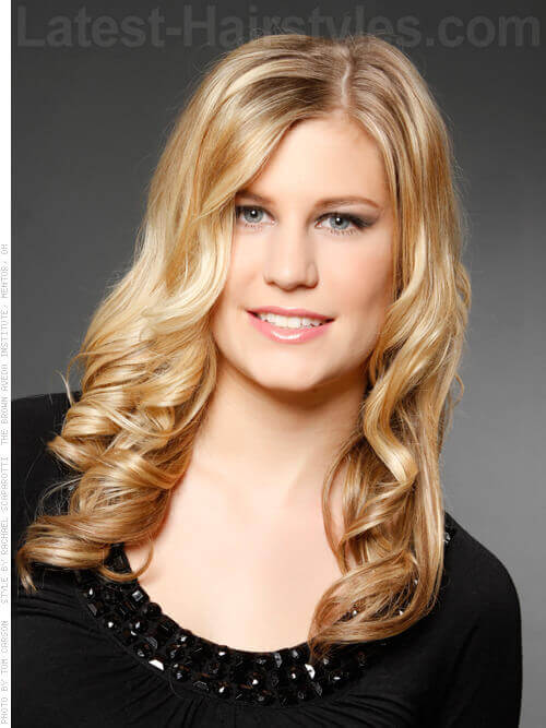 Long Blonde Hairstyle with Bouncy Curls