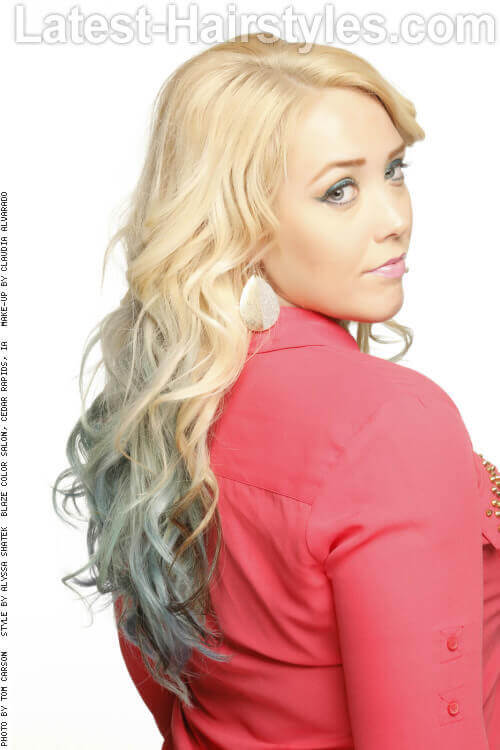 Long Blonde Hairstyle with Icy Blue Dip Dye Back