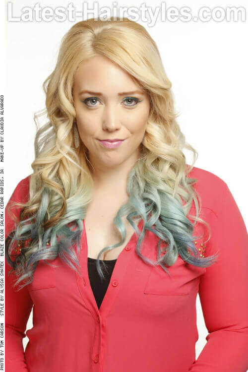 Long Blonde Hairstyle with Icy Blue Dip Dye