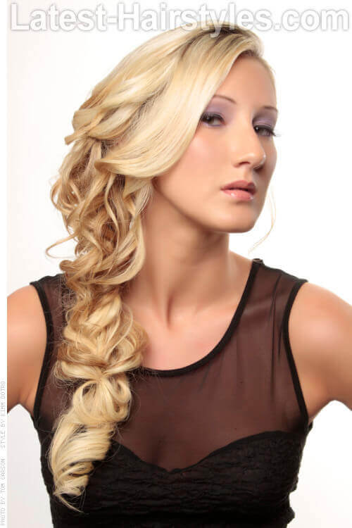 Long Blonde Messy Braided Updo