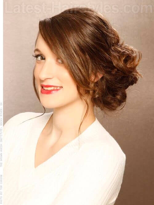 Long Brown Updo with Side Part