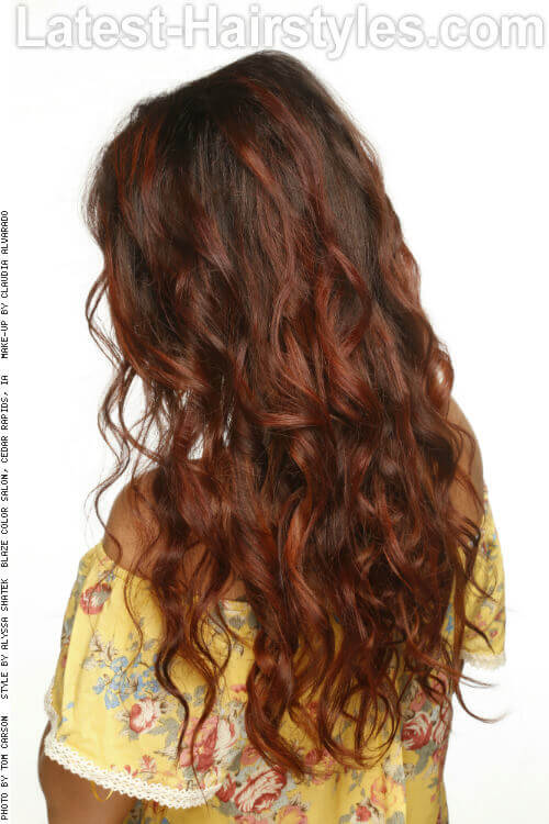 Long Brunette Hairstyle with Volume and Curls Back