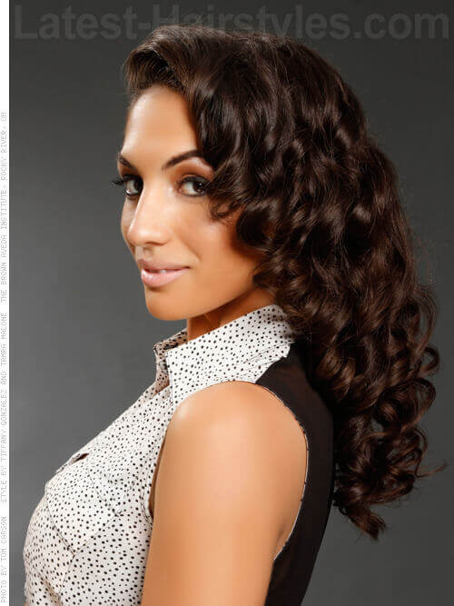 Long Contemporary Pinup Hairstyle Side View