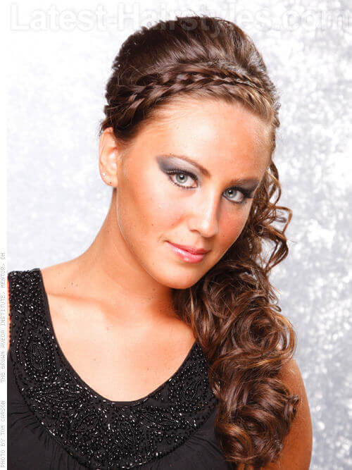 Long Curly Hairstyle with Braided Headband Front View