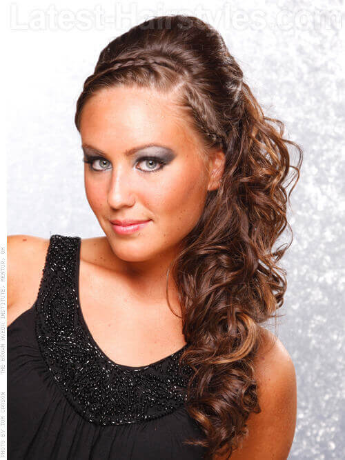 Long Curly Hairstyle with Cool Braided Headband
