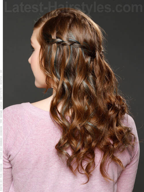 Long Curly Updo Hairstyle with Waterfall Braid Back View