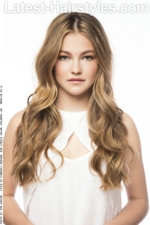 Long Hairstyle with Golden Beige Waves
