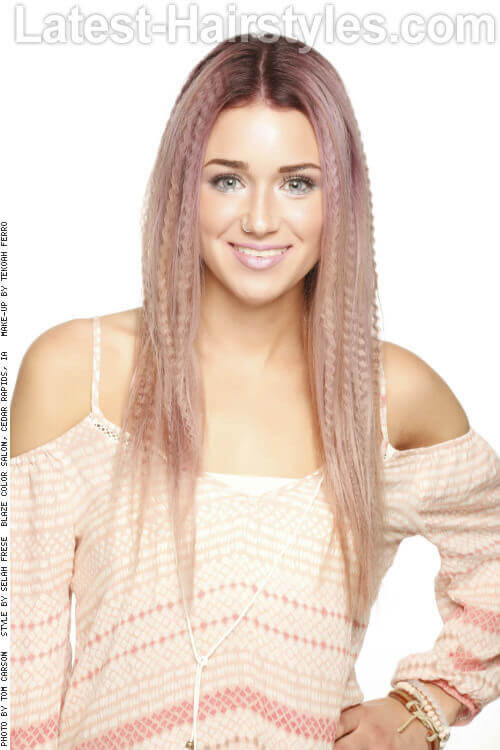 Long Mauve Hued Hairstyle with Crimps