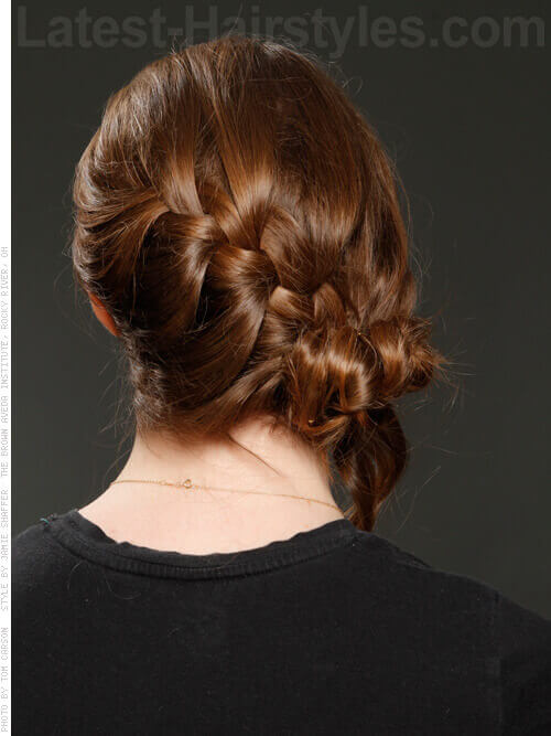Loose French Braid Bun Back View