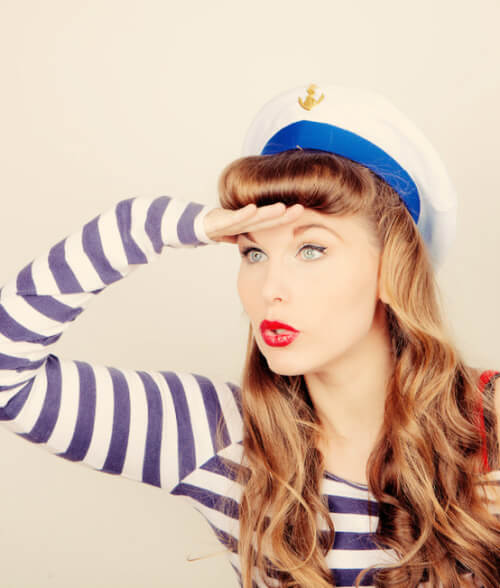 Long Vintage Hairstyle with Bangs