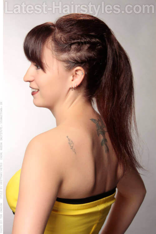 Pony Tail with Mini Side Braids Side View