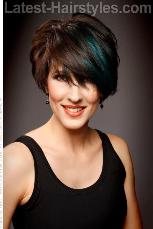 Sassy Pixie Cut with Teal Highlights