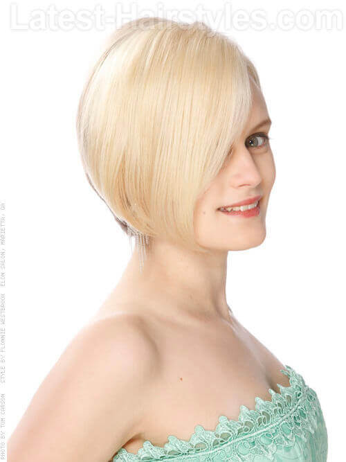 Short Asymetric Bob Hairstyle Side View