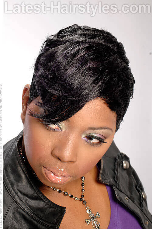 Short Pixie Long Bangs Haircut For Black Women