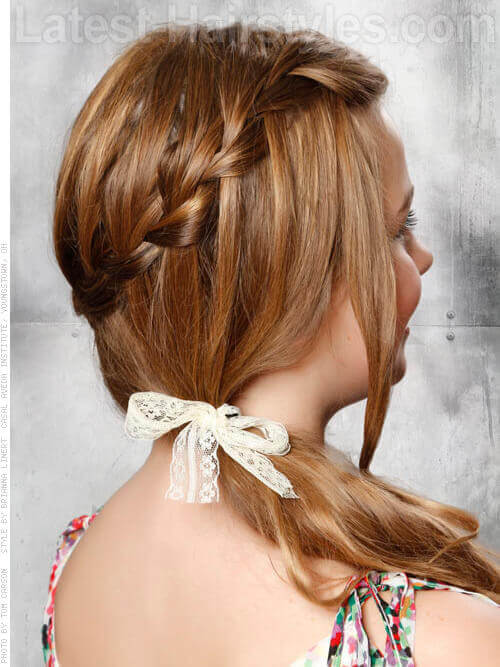 Side Waterfall Braid with Bow Back View