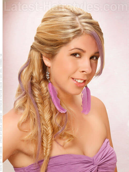 Teased and Curled Half Ponytail with Fishtail Braid