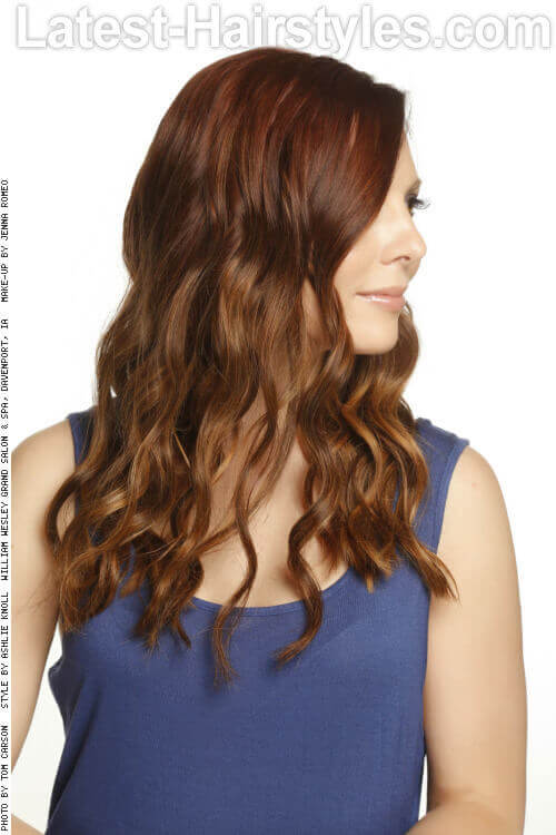 Velvety Curls with Copper Color Melt Side