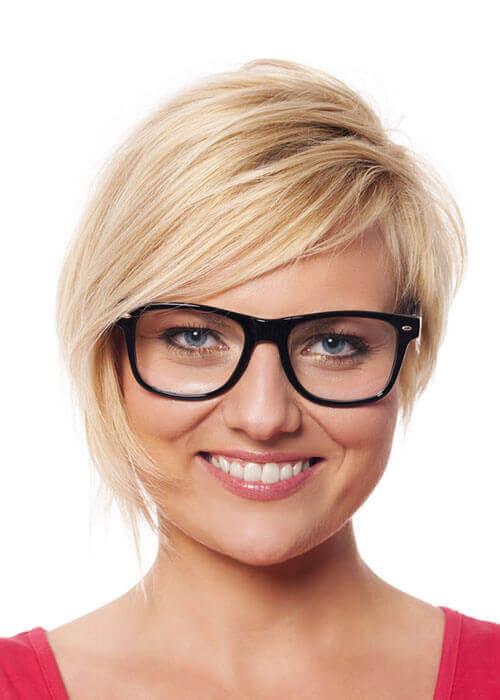 Asymmetrical bob Blonde with Glasses