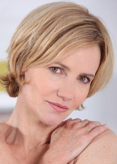 Short brown blonde for women over 40