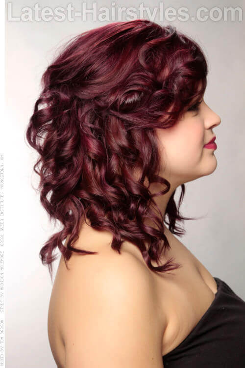 Berry Pretty Half Up Beautiful Auburn Hair Side View
