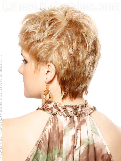 Highly Texturized Short Blonde Cut Back View