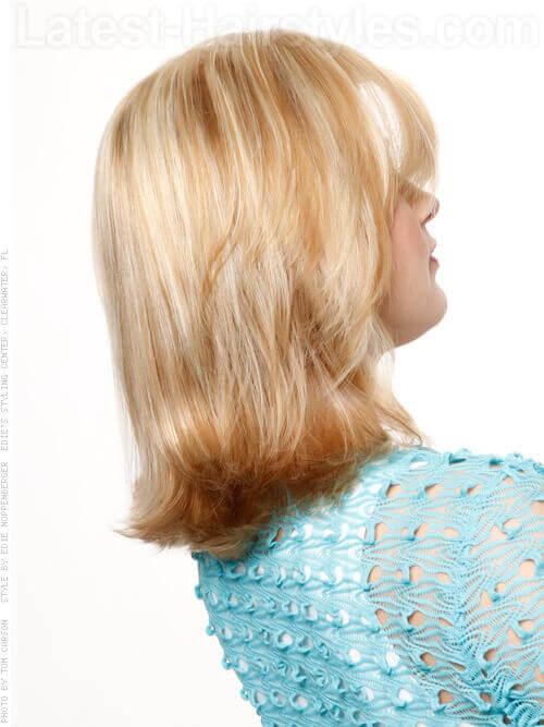 Textured Long Bob Medium Length Blonde Style Side View