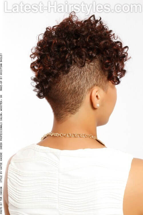 Asmmetrical Undercut Curly Hairstyle Back