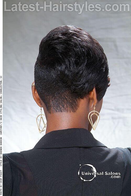 Asymmetrical Pixie Hairstyle Back