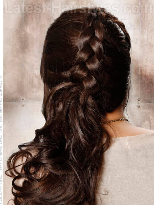 Braided Side Ponytail with Curls Back View