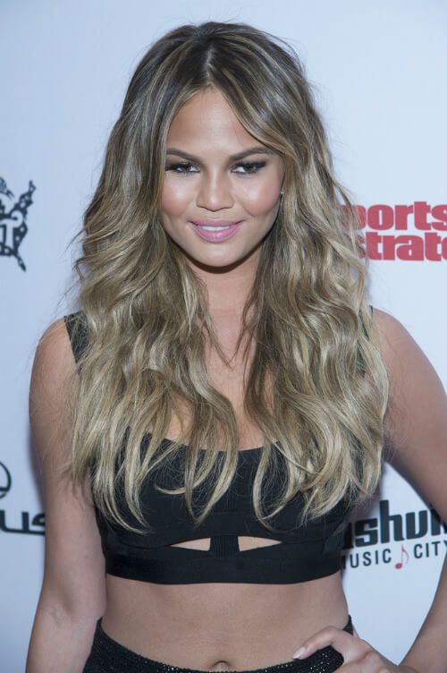 Chrissy Teigen Long Hairstyle with Organic Texture