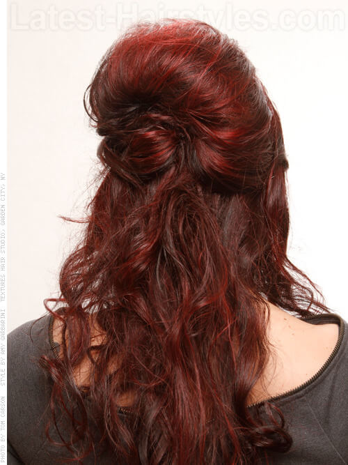Curly Half Updo with Bun Back View